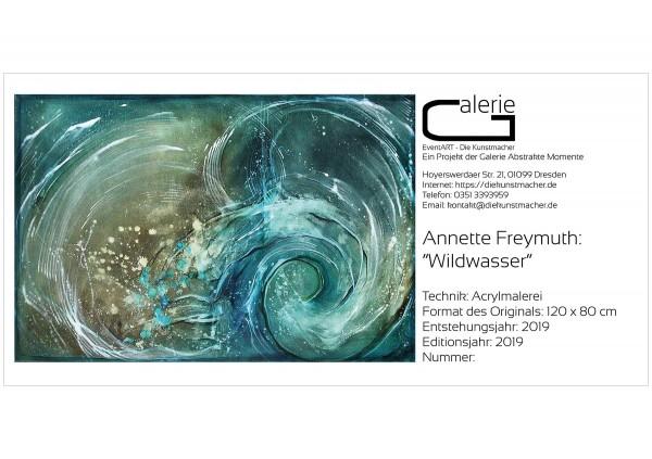 """Sonderedition, Monatsgemälde als Kunstdruck v. Annette Freymuth: """"Wildwasser"""""""