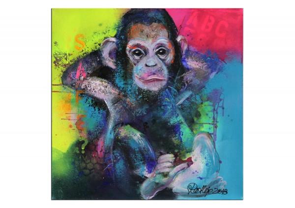 "Moderne Malerei, M. Rathje: ""Monkey"", Originalgemälde (Unikat) (A,G)"