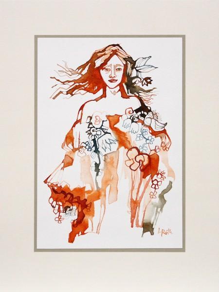"""L. Roth: """"Flora"""", originale Grafik/Zeichnung (Unikat)"""