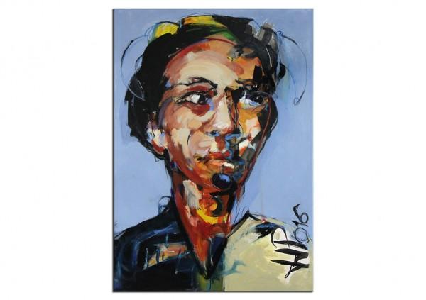 "Porträt, J.J. Piezanowski: ""NE VOULOIR QU´ÊTRE HEUREUX..."", Originalgemälde (Unikat)"