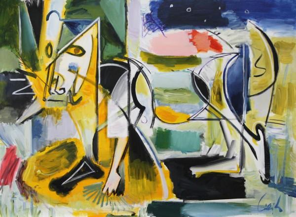 """M. Cieśla: """"Der Dachshund"""", Expressionistisches Acrylgemälde, Original/Unikat (A)"""