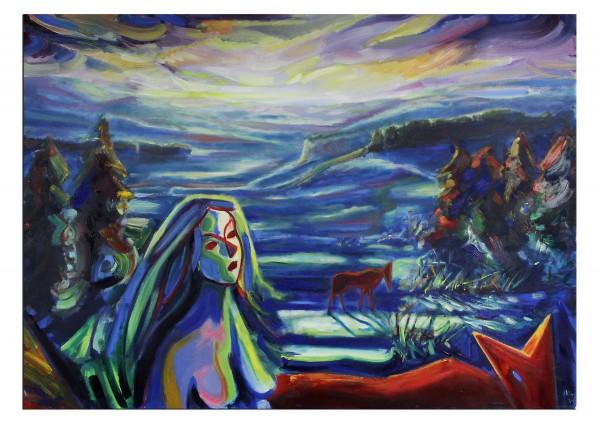 """Expressionistische Ölmalerei, Maciej Cieśla: """"Wandernder Winter"""""""