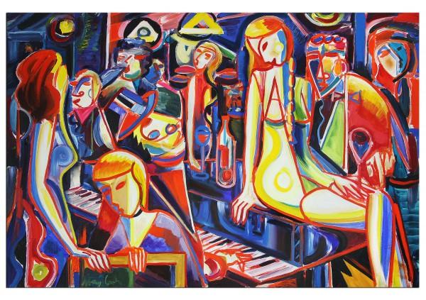"""Acrylmalerei , Maciej Cieśla: """"Musik und Abend, Oldschool 11 2019"""", Originalgemälde (Unikat)"""