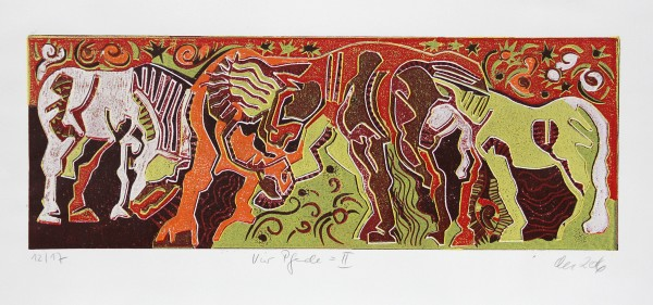 "F.O. Haake: ""Vier Pferde II"", originale Grafik/serielles Unikat, mehrfarbiger Linoldruck"