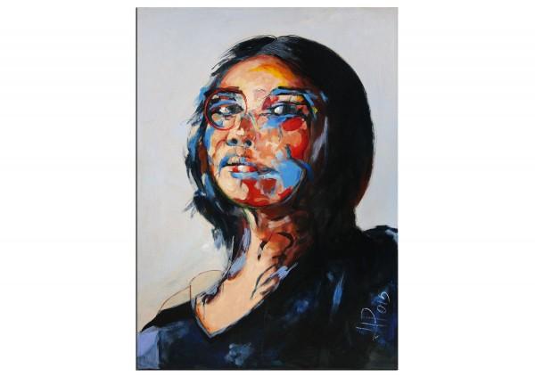 """Neoexpressionismus, Porträt, J.J. Piezanowski: """"Comme un vent frais lui caressait le visage"""""""