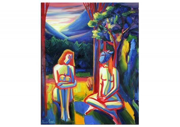 """Expressionistische Ölmalerei, Maciej Cieśla: """"Zwei weibliche Formen, die Farbe der Natur 02.2019"""""""