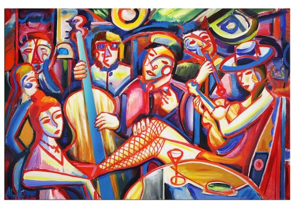 """Expressionistische Acrylmalerei , Maciej Cieśla: """"Musik und Abend, Oldschool 10 2019"""" (A)"""