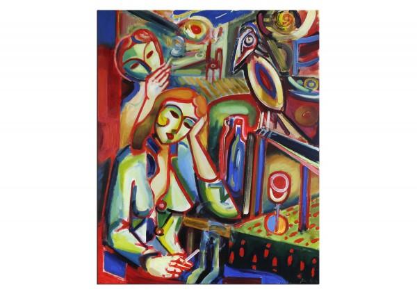 """Expressionistische Ölmalerei, Maciej Cieśla: """"Langweiliger Abend, zwei Mädchen"""""""