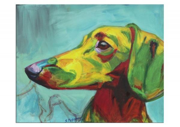 """Limitierter Kunstdruck von Stefan Petrunov: """"Portrait of dachshund"""" (A)"""