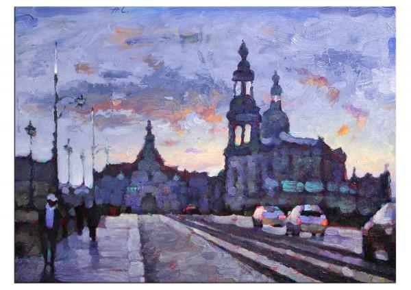 """Ölgemälde, Andy Larrett: """"Dresden.Augustusbrücke"""""""