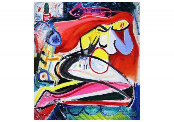 """Expressionistische Acrylmalerei , Maciej Cieśla: """"Komposition mit weiblicher Form und Katzen"""" (A)"""