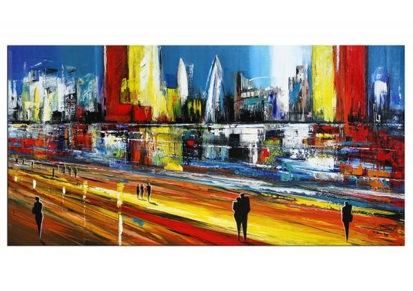 """Modernes Gemälde, K. Namazi: """"Schnelllebige Metropole"""" (ri)"""