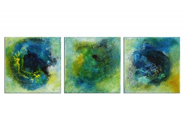 "Expressive Acrylmalerei, I. Schmidt: ""Tiefgang Nr. 28 - Triptychon"""