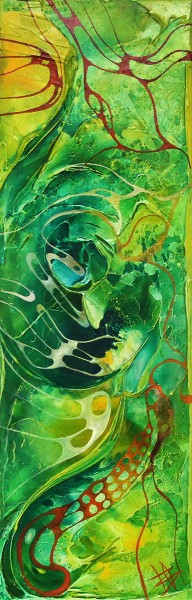 "B. Ossowski: ""Composition in green"", Originalgemälde (Unikat)"