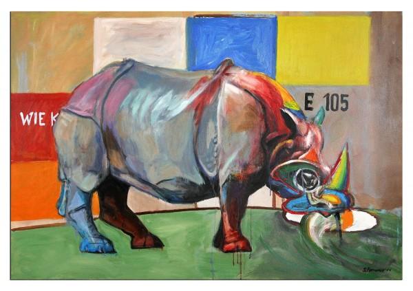 """Zeitgenössisches Ölgemälde von Stefan Petrunov: """"Rhino"""" (A)"""