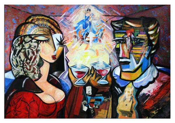 """Modernes Gemälde von K. Namazi: """"Rendezvous I"""", Originalgemälde (Unikat) (A)(ri)"""