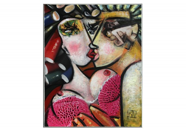 """Moderne Kunst von K. Namazi: """"Verführung in Pink I"""" (ri,A)"""