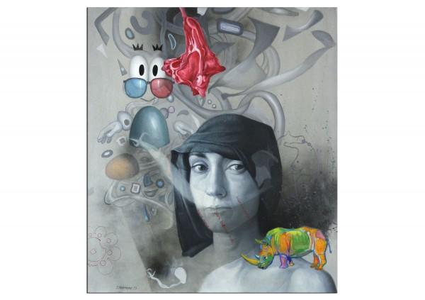"""Zeitgenössisches Ölgemälde von Stefan Petrunov: """"Mascot"""" (A)"""