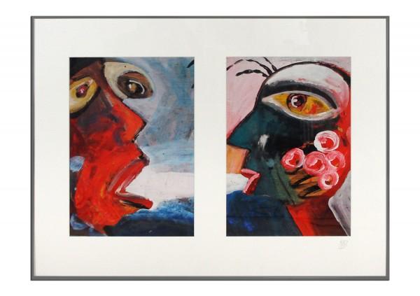 "Zeitgenössischer Kunstdruck (Unikat), Dirk Hille: ""Crazy Faces II"""