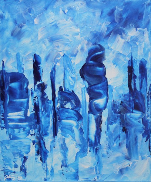 "J. Fernandez: ""Wolkenkuckucksstein III"", Acrylbilder, Originalgemälde"