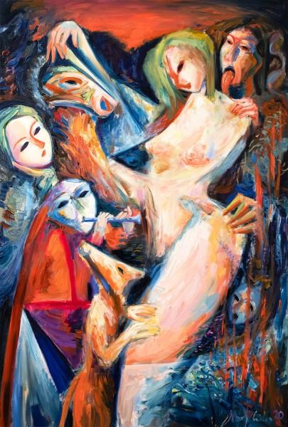 """M. Cieśla: """"Unsere Geister werden für uns kommen"""", Original/Unikat, expressionistisches Ölgemälde"""