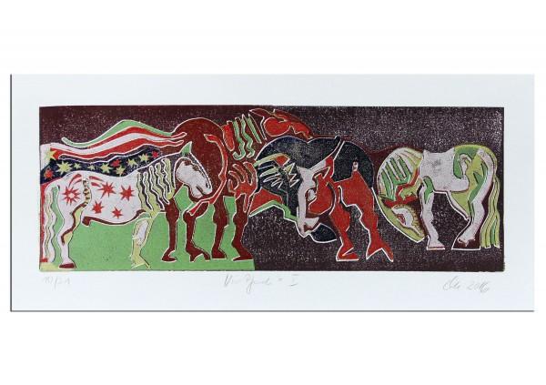 """Grafik (serielles Unikat), mehrfarbiger Linoldruck von Frank-Ole Haake: """"Vier Pferde I"""""""