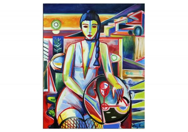 """Expressionistische Ölmalerei, Maciej Cieśla: """"Komposition mit einem Mädchen und Stillleben 02.2019"""""""