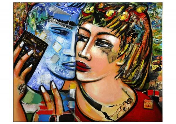 """Modernes Gemälde, K. Namazi: """"Love Chat"""" (ri)"""