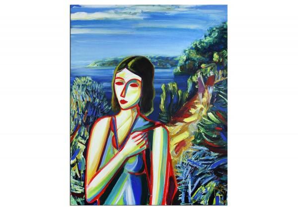 """Expressionistische Ölmalerei, Maciej Cieśla: """"Das Mädchen, das ich an der italienischen Küste sah"""""""