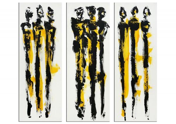 """Expressive Acrylmalerei, I. Schmidt: """"Stadtmenschen Triptychon"""""""
