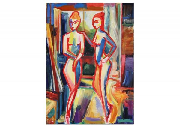 """Expressionistisches Ölgemälde (Unikat), Maciej Cieśla: """"Zwei Mädchen im Studio"""", Original (A)"""