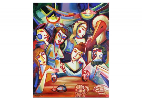 """Expressionistische Ölmalerei, Maciej Cieśla: """"Aus der Serie """"after alcohol"""": Abend, Bar"""""""