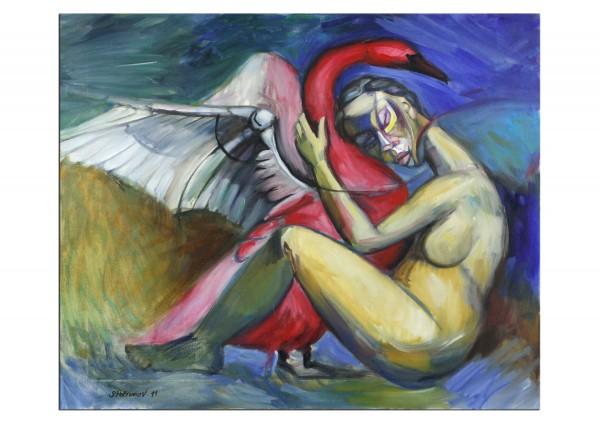 """Zeitgenössisches Ölgemälde von Stefan Petrunov: """"Leda and the Swan"""" (A)"""