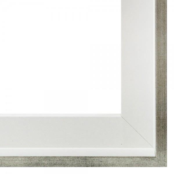 Premium Schattenfugenrahmen weiß/silber, SR-M4045A1462-ws, Bilderrahmen Holz, modern
