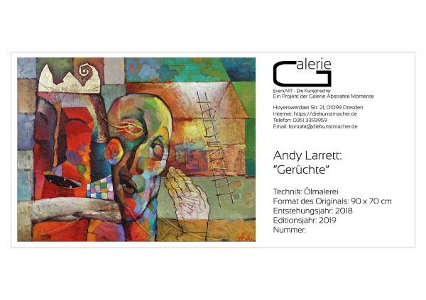 """Sonderedition, Monatsgemälde als Kunstdruck v. Andy Larrett: """"Gerüchte"""""""