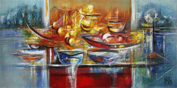 "Originales Acrylgemälde (Unikat), K. Namazi: ""Gedeckter Tisch"", Originalgemälde (Unikat) (A)"