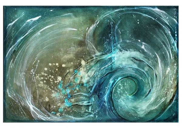 """Acrylbilder abstrakt, A. Freymuth: """"Wildwasser"""" inkl. Schattenfugenrahmen schwarz SR43112-s"""