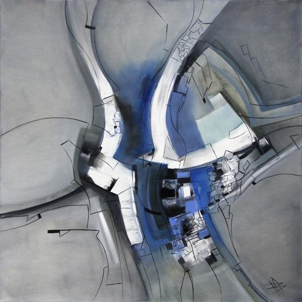 "B. Ossowski: ""Blue Composition"", Originalgemälde (Unikat)"
