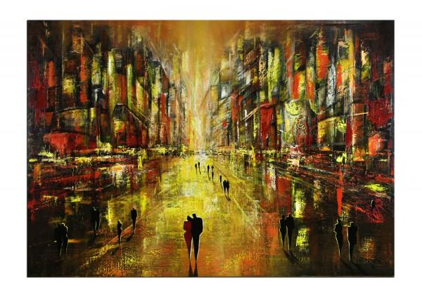 """Modernes Gemälde, K. Namazi: """"In Gold erstrahlt die Nacht III"""""""