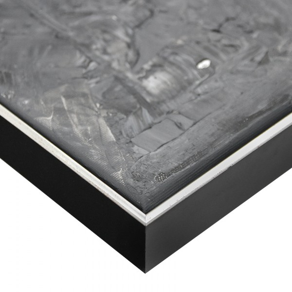Premium Schattenfugenrahmen schwarz/silber SR-36662-si, Bilderrahmen Holz