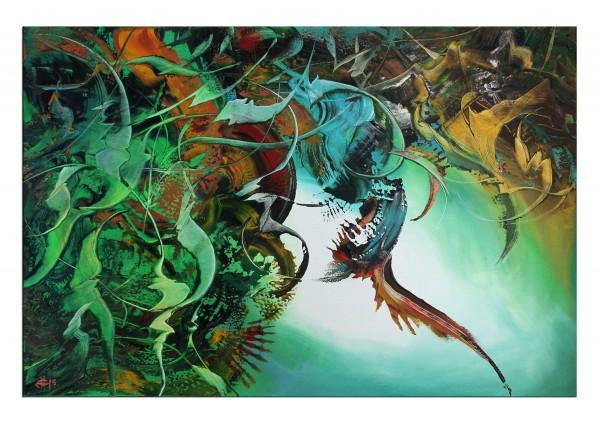 "Abstrakte Kunstbilder, G. HUNG: ""Abyss IV"", Originalgemälde (Unikat)"