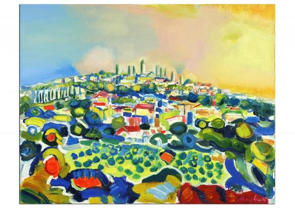 """Expressionistische Acrylmalerei , Maciej Cieśla: """"Landschaft von der Toskana inspiriert, San Gimigna"""