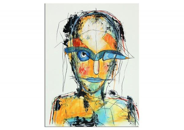 """Zeitgenössische Grafik/Malerei, Ilona Schmidt: """"Blickkontakt II"""""""