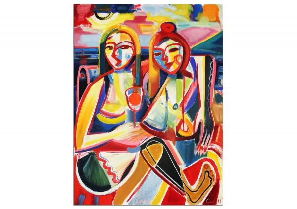 "Ölmalerei, Maciej Cieśla: ""Zwei Mädchen, italienische Inspiration 07/2019"", Originalgemälde (Unikat)"