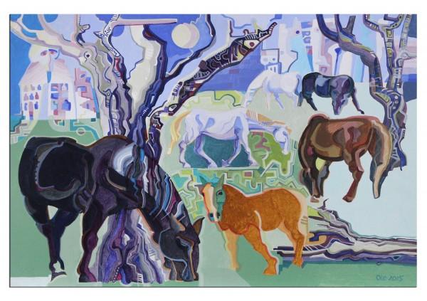 "Acrylgemälde, Frank-Ole Haake: ""Pferde im Garten"""